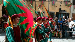 Part of the Sant' Andrea contrada in the historic parade – Rossella's son Guido is one of the flagbearers